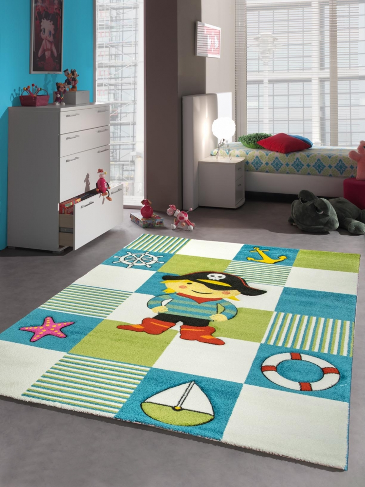 kinderteppich spielteppich kinderzimmer teppich pirat design mit konturenschnitt ebay. Black Bedroom Furniture Sets. Home Design Ideas