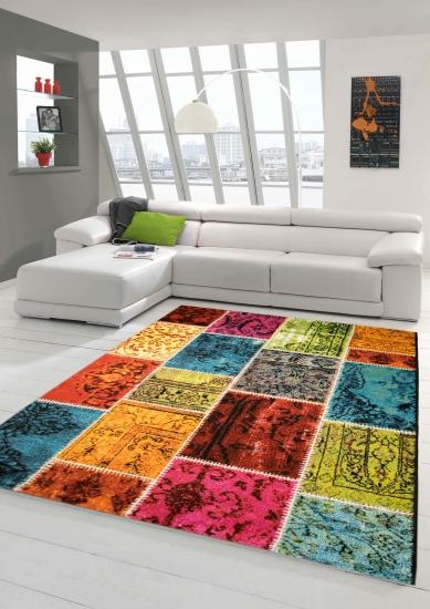 Designer Teppich Moderner Wohnzimmer Karo Muster Patchwork Multicolour In Grn Rot Trkis Gelb Bunt