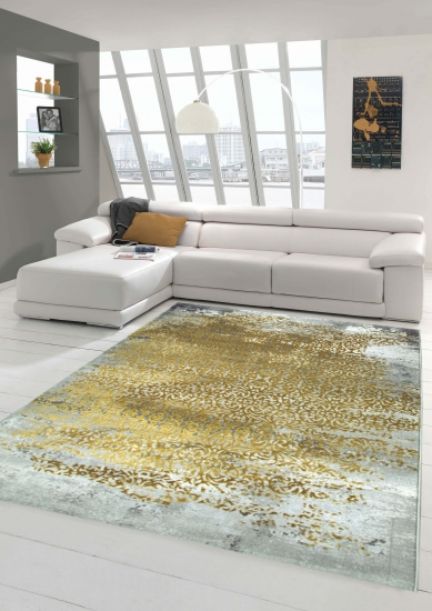 Designer Teppich Moderner Teppich Wollteppich Meliert Wohnzimmer Teppich  Wollteppich Ornament Senf Gelb Grau