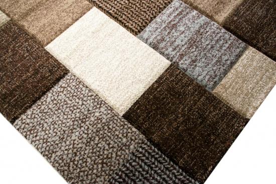 Designer Teppich Moderner Teppich Wohnzimmer Teppich Kurzflor Teppich Mit  Konturenschnitt Karo Muster Braun Grau Cream Taupe