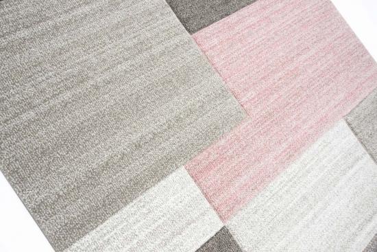 Designer Teppich Moderner Wohnzimmer Kurzflor Mit Konturenschnitt Karo Muster Pastellfarben Rosa Creme Beige