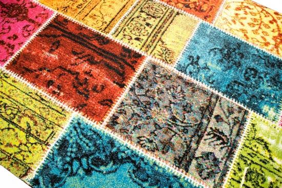 Designer Teppich Moderner Wohnzimmer Karo Muster Patchwork Multicolour In Grn Rot Trkis Gelb