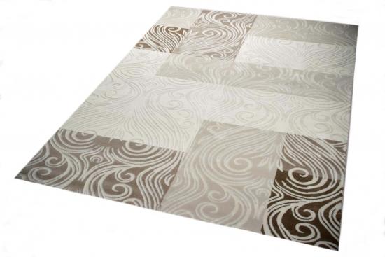 Designer Teppich Moderner Teppich Wohnzimmer Teppich Mit Glitzergarn  Wollteppich Mit Karo Muster In Creme Braun Beige