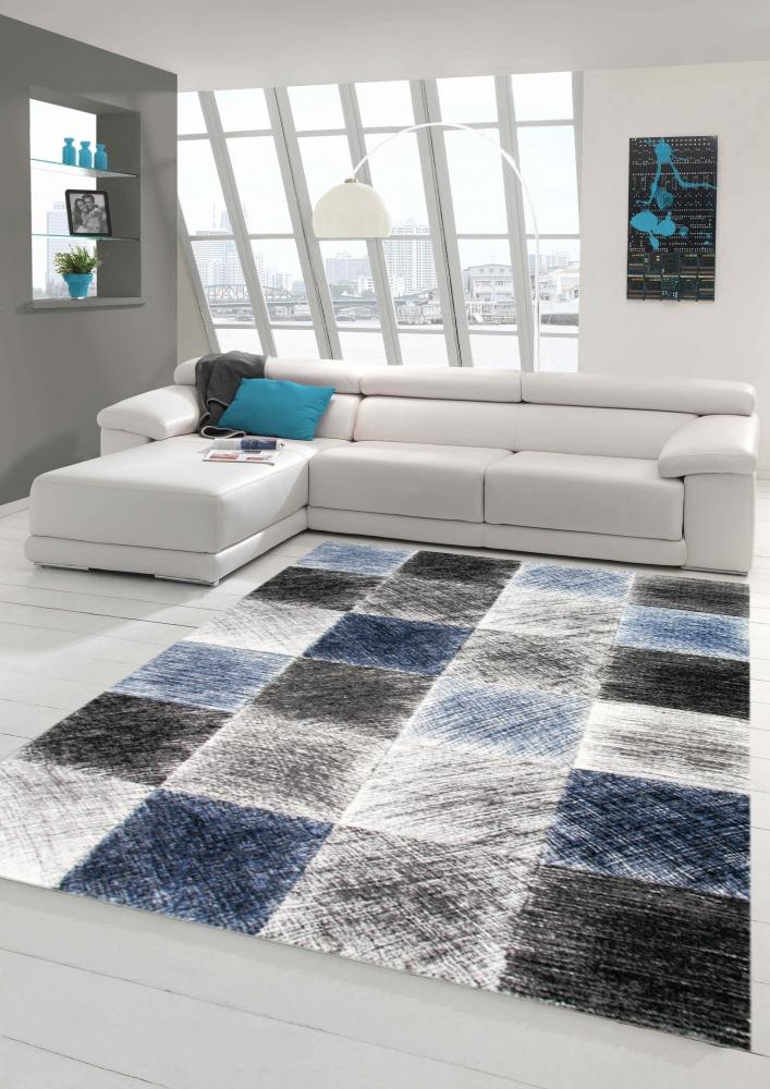 Tappeto da salotto moderno e design in blu grigio nero | eBay