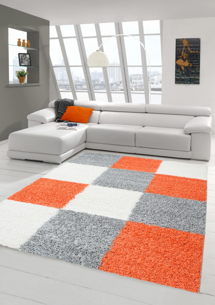 Gy Carpet Long Pile Living Room Patterned In Karo Design Orange Grey Cream