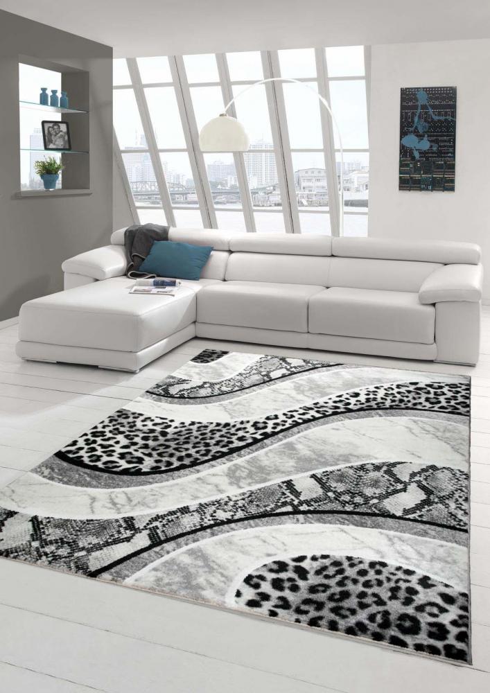designer teppich moderner teppich wohnzimmer teppich mit leoparden muster in gra ebay. Black Bedroom Furniture Sets. Home Design Ideas