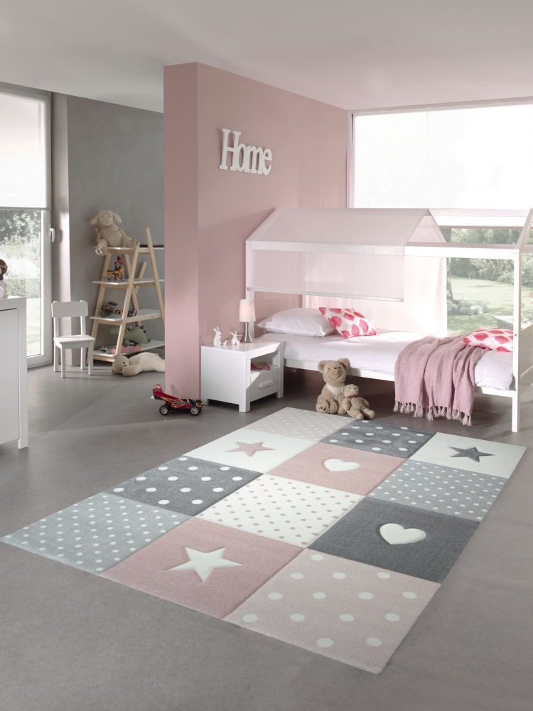 kinderteppich spielteppich teppich kinderzimmer babyteppich mit herz stern in ebay. Black Bedroom Furniture Sets. Home Design Ideas