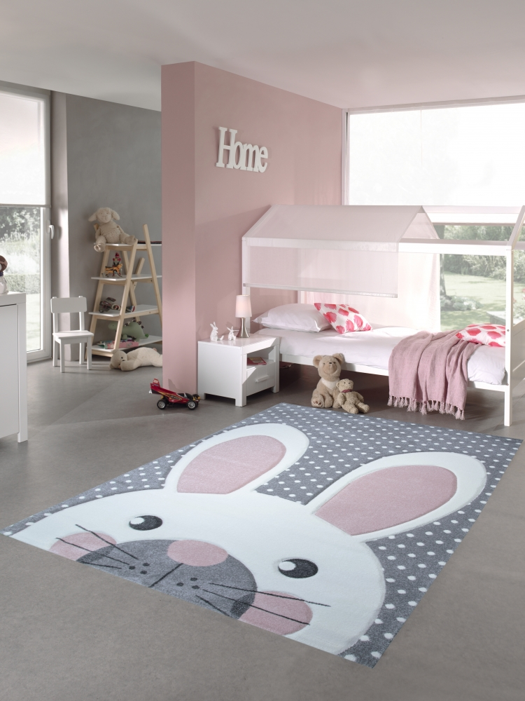 kinderteppich spielteppich teppich kinderzimmer babyteppich hase in rosa weiss ebay. Black Bedroom Furniture Sets. Home Design Ideas