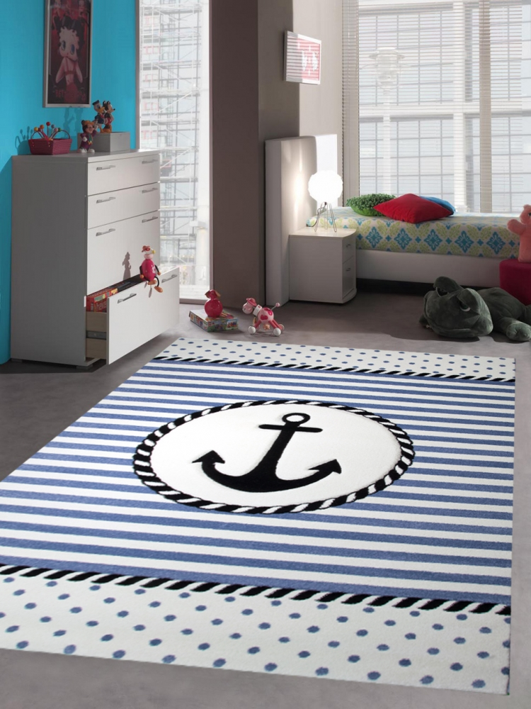kinderteppich maritim kinderzimmerteppich jungen teppich mit anker in blau creme ebay. Black Bedroom Furniture Sets. Home Design Ideas