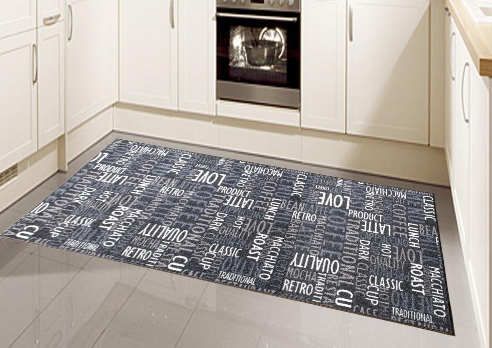 teppich modern flachgewebe gel l ufer k chenteppich k chenl ufer schwarz creme b ebay. Black Bedroom Furniture Sets. Home Design Ideas