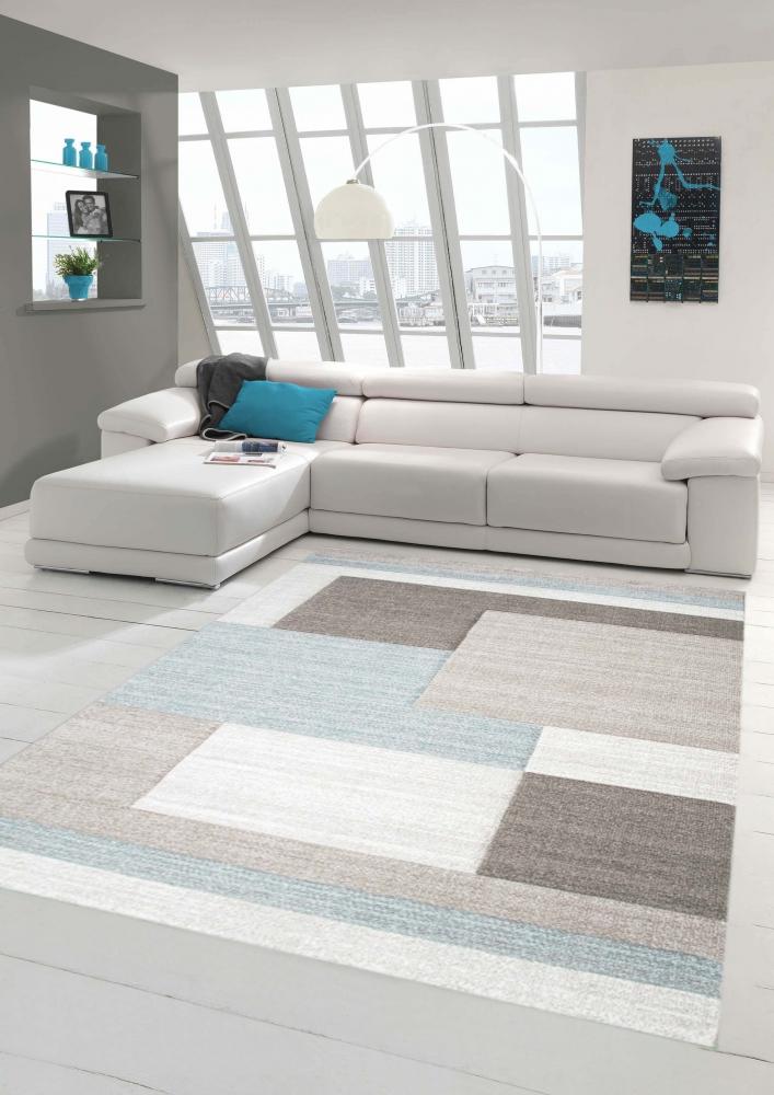 Designer Teppich Moderner Teppich Wohnzimmer Teppich Kurzflor Teppich Mit  Konturenschnitt Karo Muster Pastellfarben Blau Creme Beige