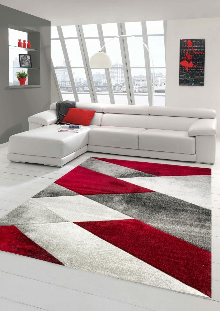 Détails sur Tapis moderne Tapis de salon motif géométrique abstrait en gris  rouge