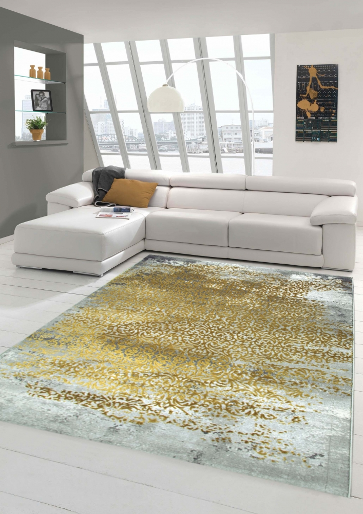 Designer Rug Contemporary Rug Wool Rug Heather Living Room Carpet Carpet  Ornament Mustard Yellow Grey