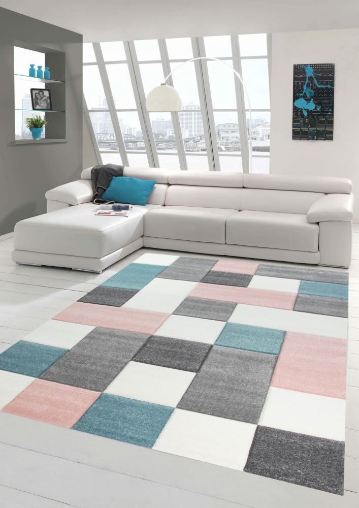 Détails sur Tapis de salon design avec motif en damier rose turquoise gris