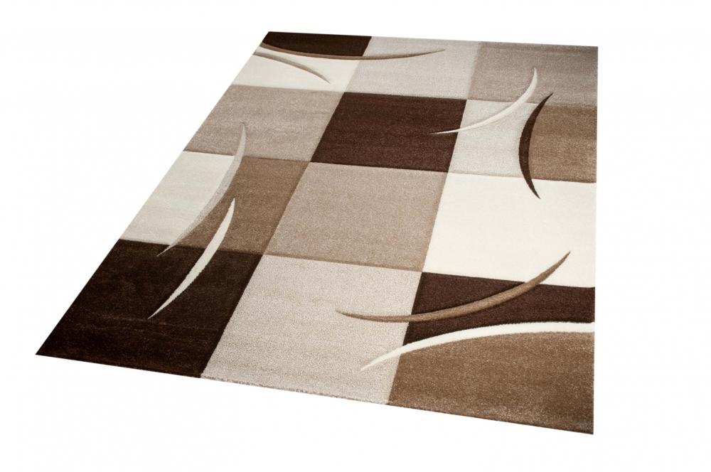 Designer Teppich Moderner Teppich Wohnzimmer Teppich Kurzflor Teppich Mit  Konturenschnitt Karo Muster Braun Beige Mocca