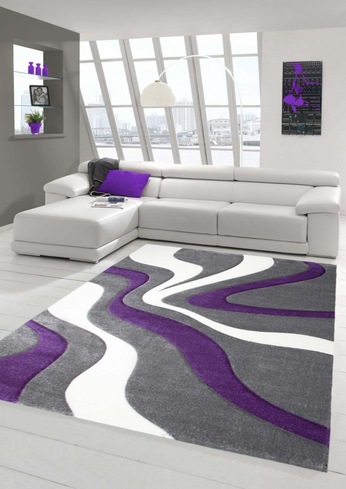 Designer Living Room Rug Contemporary Rug Rug Low Pile Carpet With Contour  Cutting Wave Pattern Purple