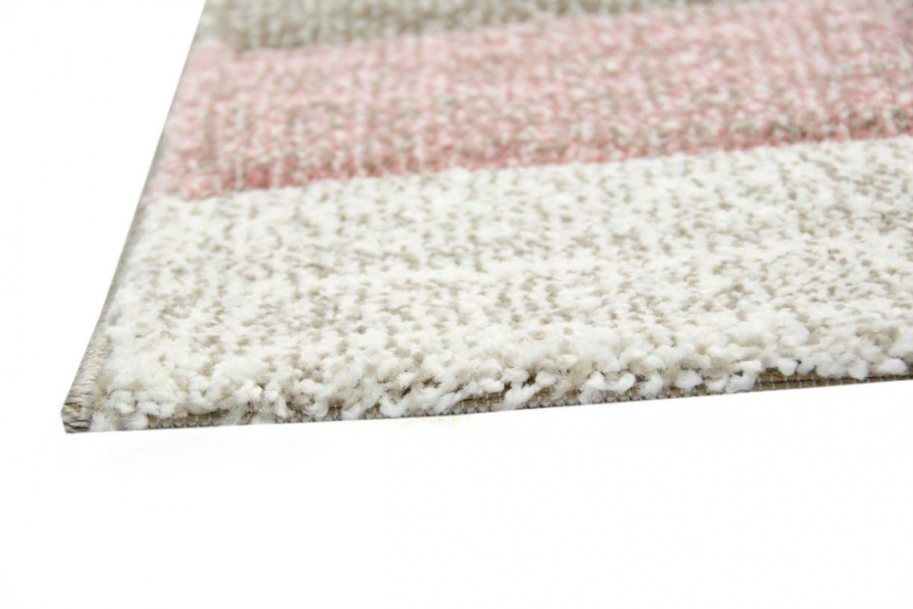 Designer Teppich Moderner Teppich Wohnzimmer Teppich Kurzflor Teppich Mit  Konturenschnitt Karo Muster Pastellfarben Rosa Creme Beige