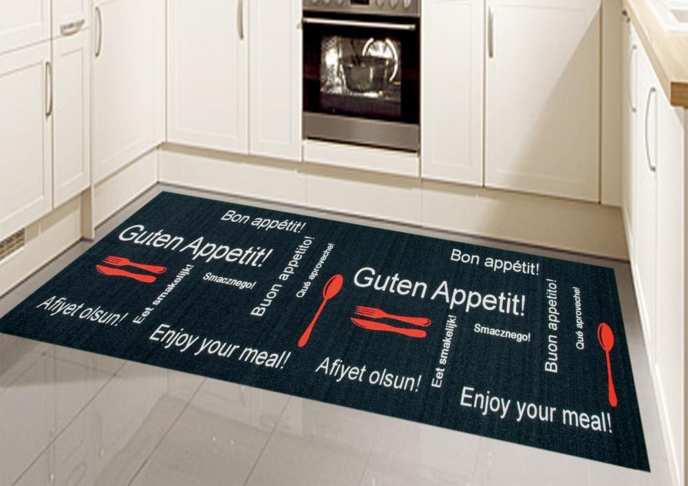 k chenl ufer k chenteppich waschbar mit schriftzug guten appetit in schwarz rot ebay. Black Bedroom Furniture Sets. Home Design Ideas